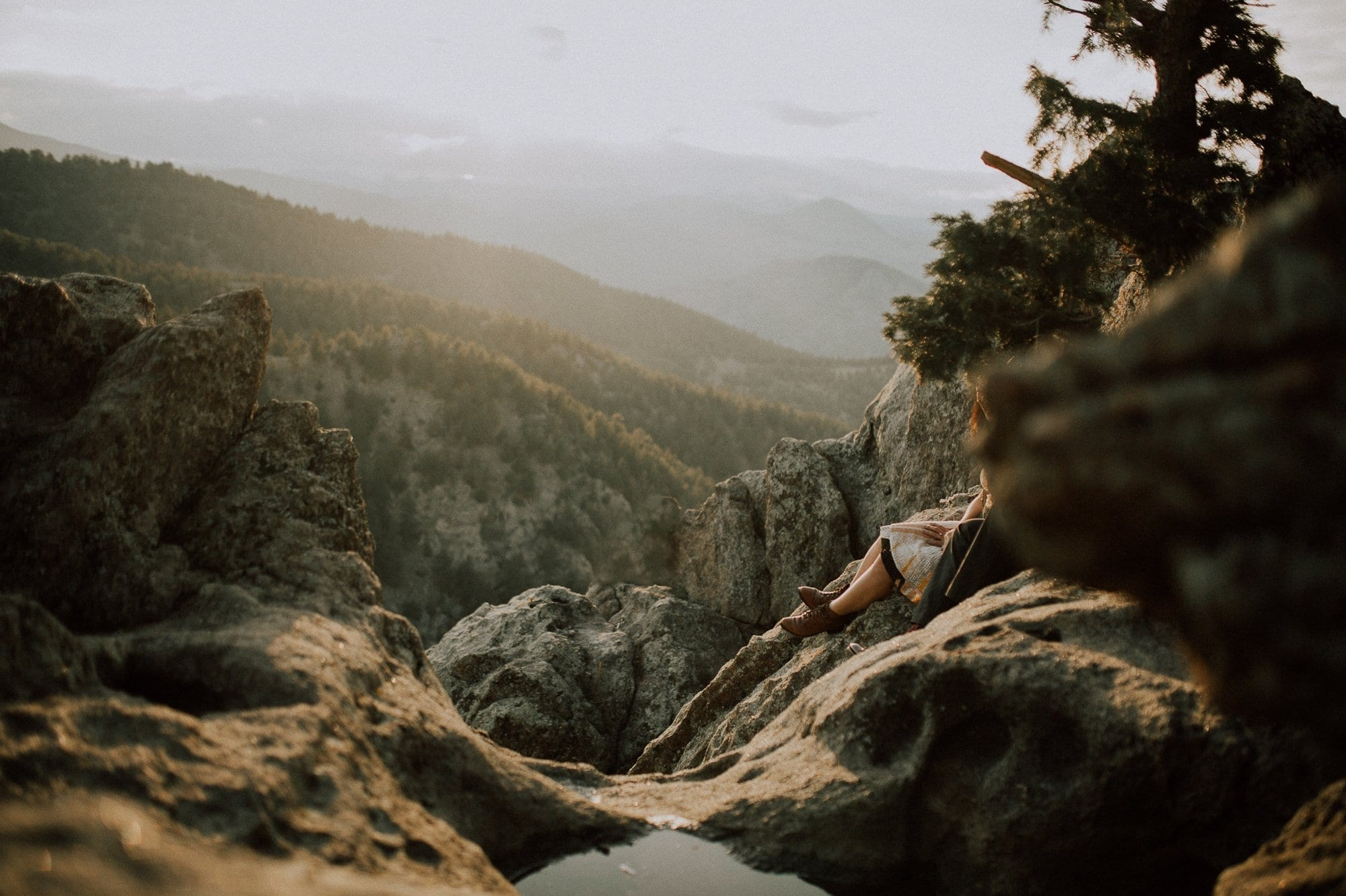 Lost Gulch Outlook, Boulder Engagement Photos, sunset,