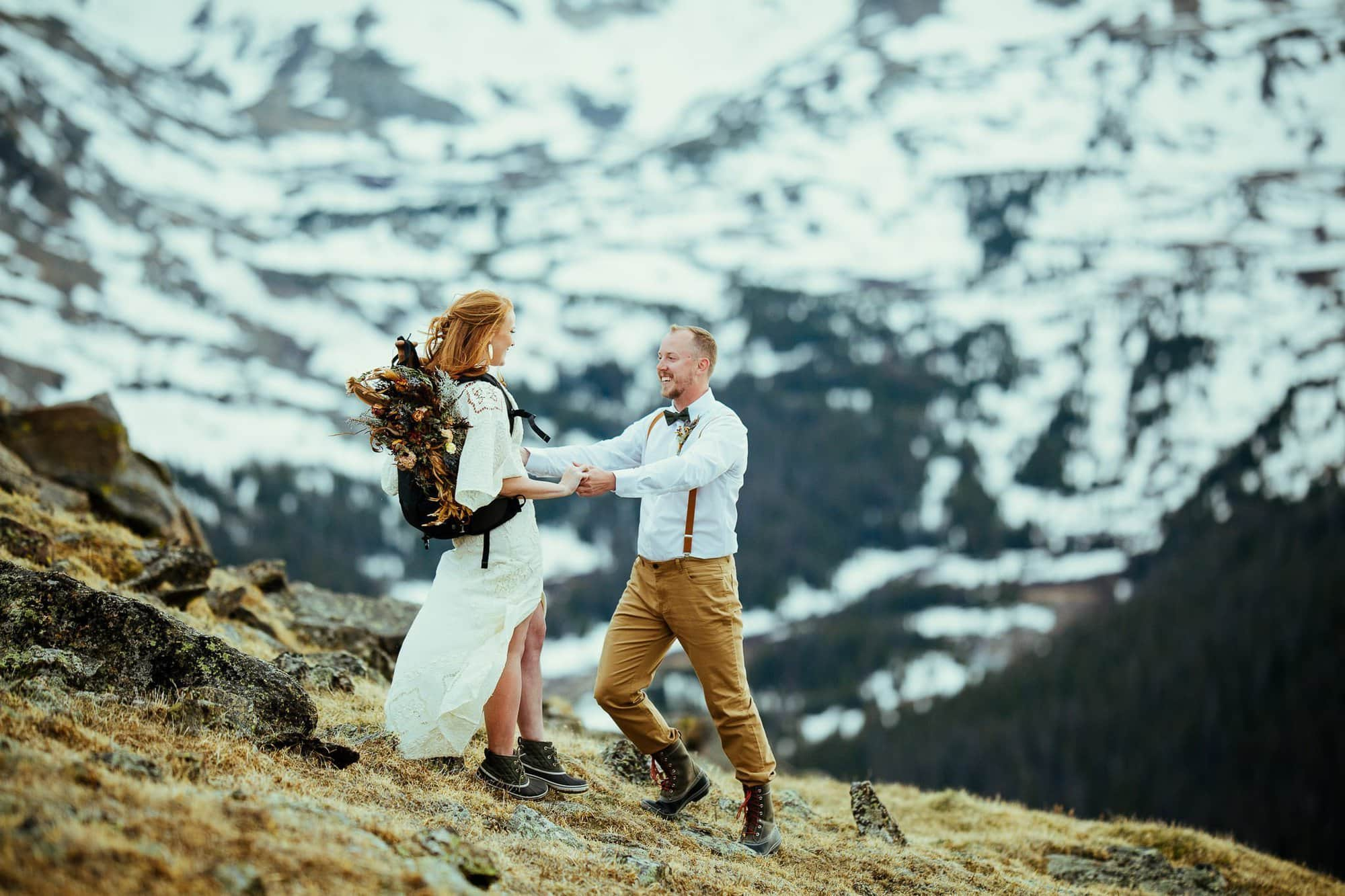 ROCKY MOUNTAIN NATIONAL PARK ADVENTURE|TRAIL RIDGE ROAD SUNSET HIKE|ADVENTURE ELOPEMENT PHOTOGRAPHER|ESTES PARK COLORADO|BRETT + LAURA