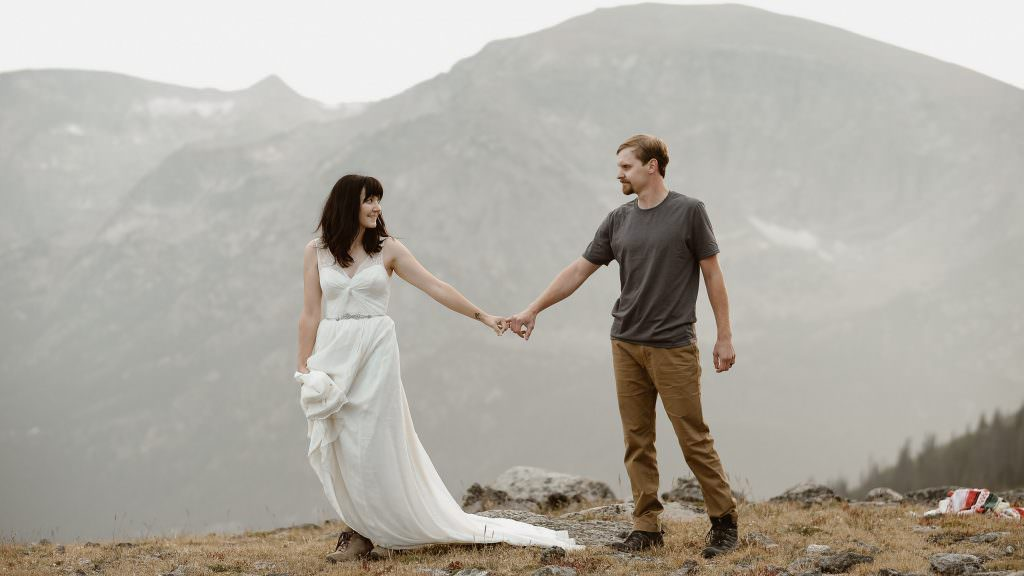 Colorado Alpine Adventures in Rocky Mountains were the adventurous souls hiking to the top of the world, follwing the boulder rocks Photos by Justyna E butler Photography, Intimate Weddings + Adventure Elopement Photographer