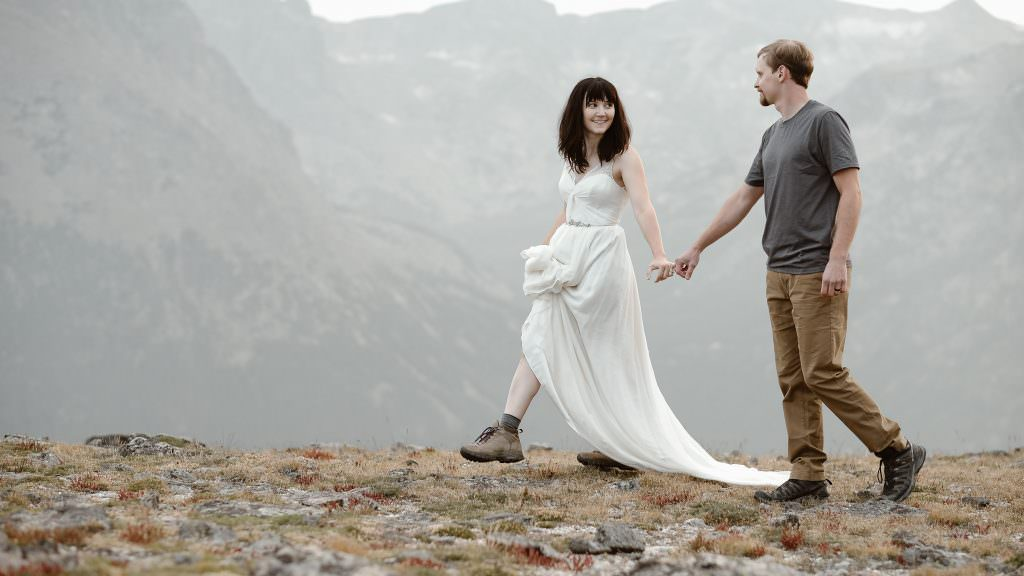 Mountain Hiking, Love Story of two adventurous souls hiking in their wedding dress