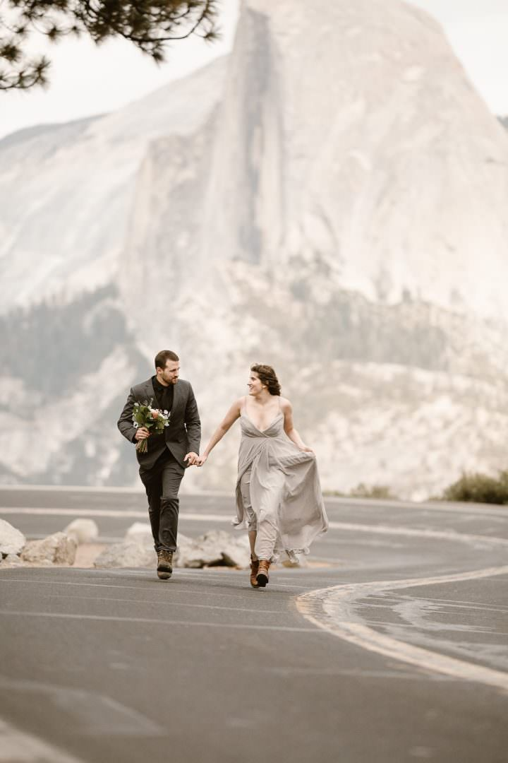 MARIE+EVAN'S ADVENTUROUS YOSEMITE NATIONAL PARK VOWS RENEWAL   SUNSET WEDDING CEREMONY AT TAFT POINT   DESTINATION ELOPEMENT PHOTOGRAPHER