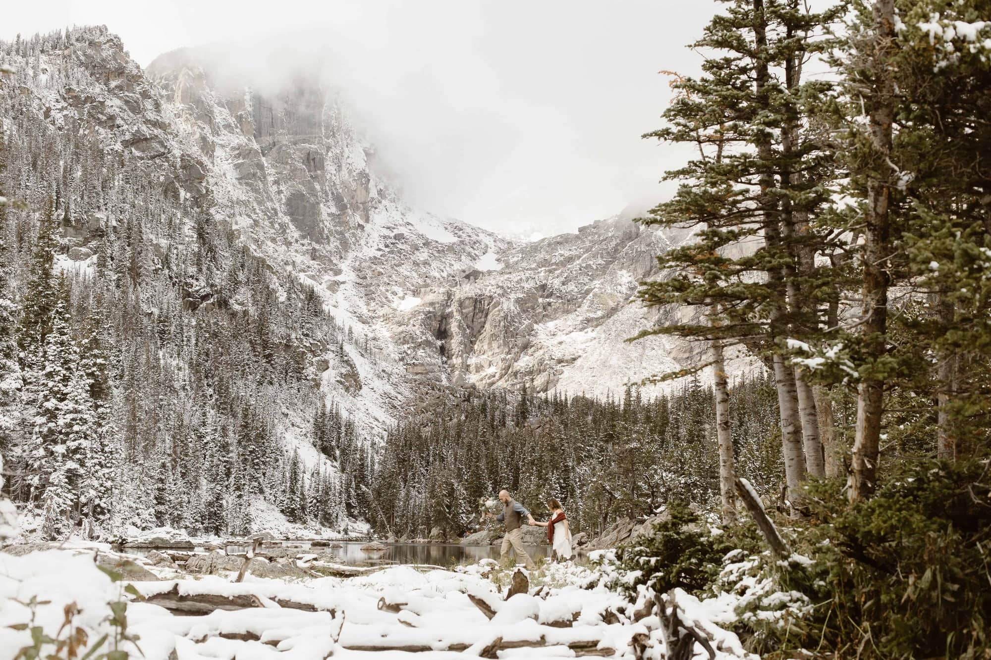 Rocky Mountain Adventure Elopement in Rocky Mountain Alpine Lake, Dream lake, Estes Park Colorado