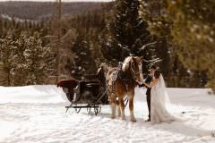 Breckenridge Horse Drawn Sleigh Ride Adventure Elopement and Intimate Wedding Destination Elopement Photographer, Justyna E Butler Photography