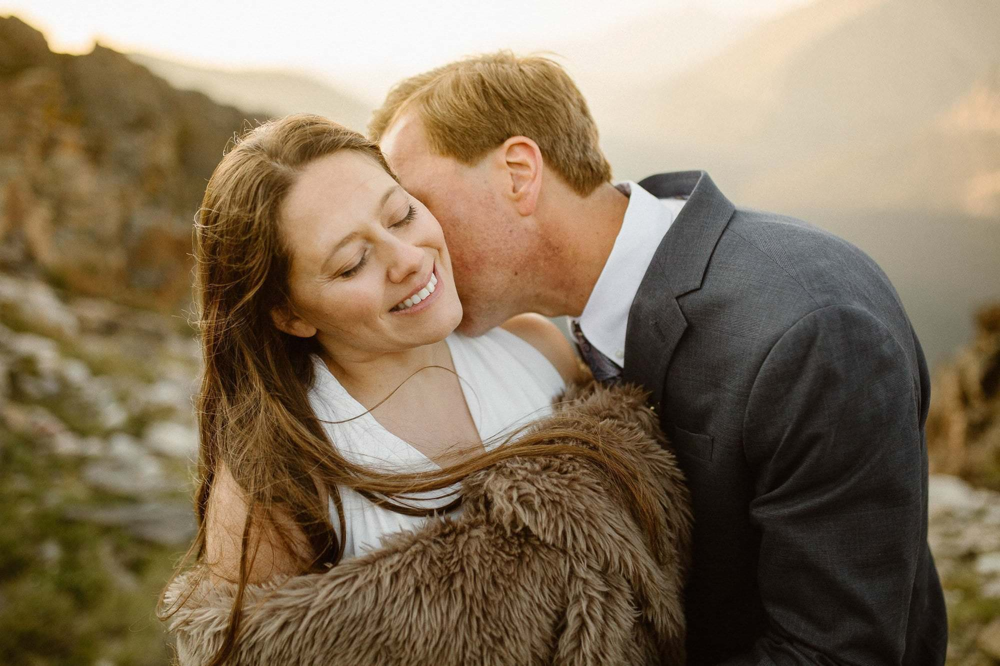 Basking in the golden hour, sunrise of two adventure souls, the day after their elopement session. Colorado Intimate Weddings and Adventure Elopement Photographer | Rocky Mountain National Park Wedding Photographer | Adventure