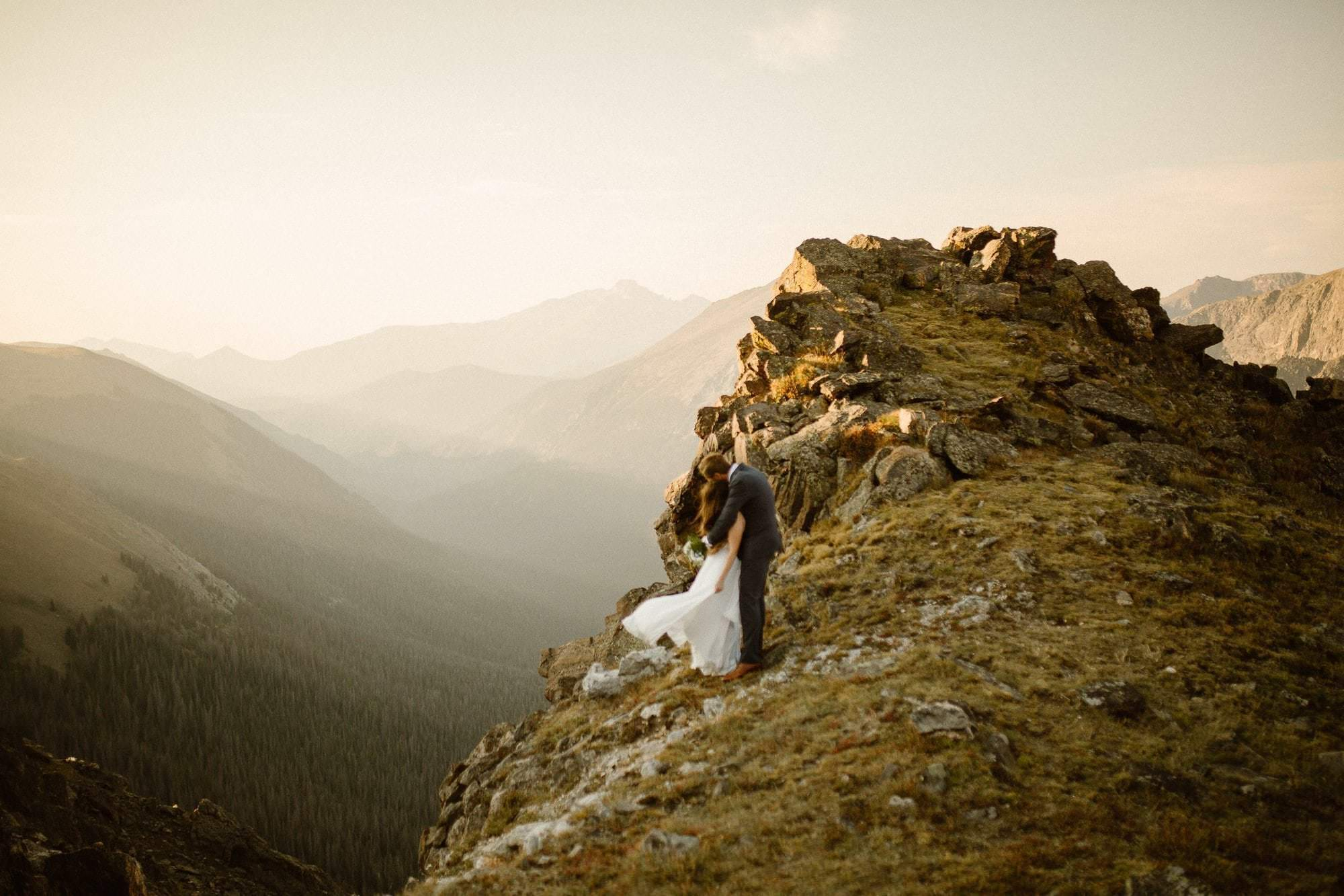 Sunrise, golden hour in Rocky Mountain National Park, Colorado Intimate Weddings and Adventure Elopement Photographer | Rocky Mountain National Park Wedding Photographer | Adventure