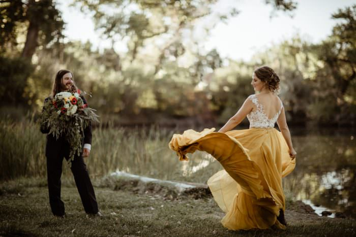 Lush Lakeside Micro Wedding In The Midst of Covid With Monet Inspired Harvest Hues provided a stunning backdrop for Pat + Grace I Do's