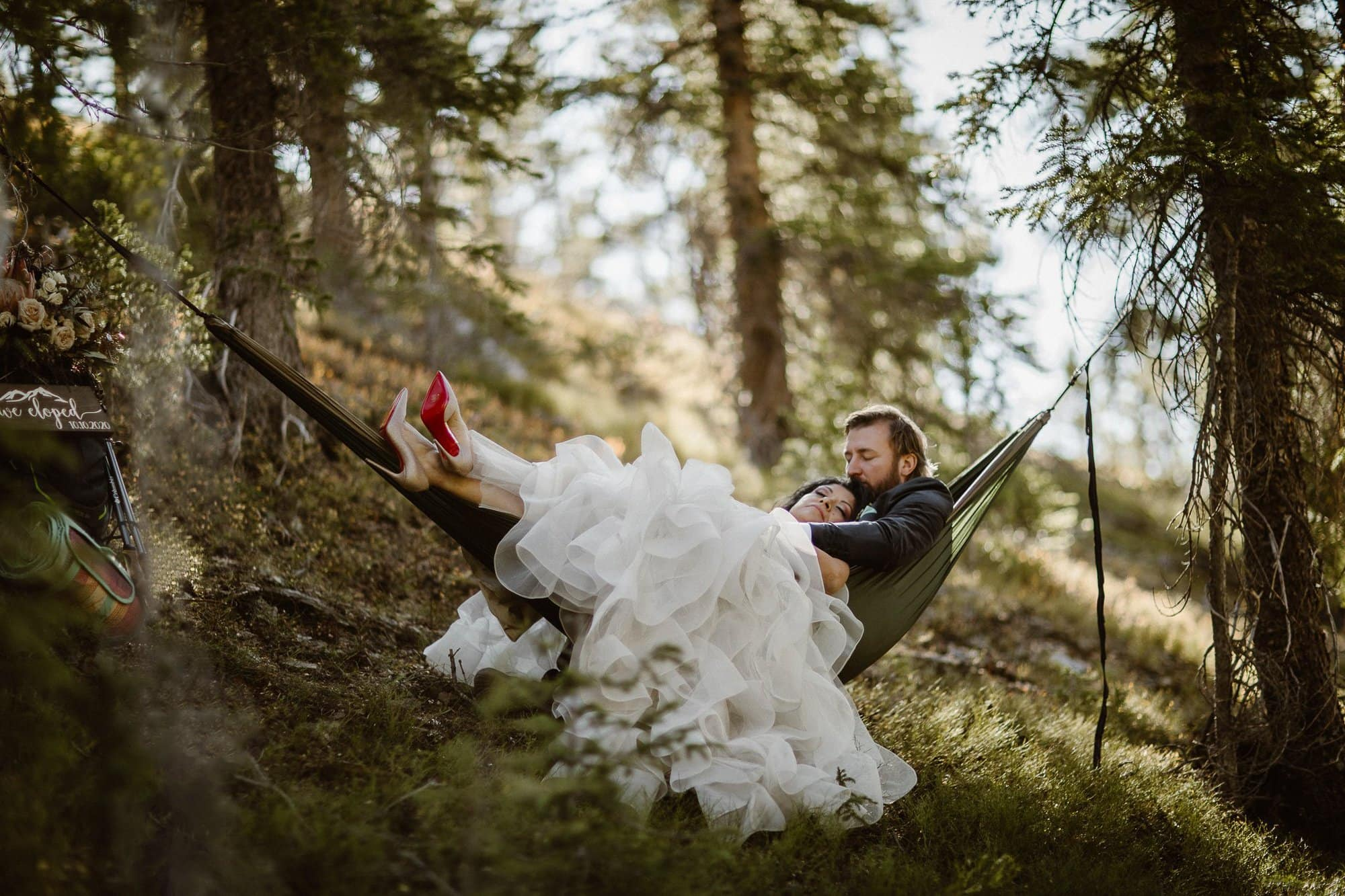 Hammocking on ENO after an adventure wedding hike. Best day of our life. Justyna E Butler Photography, Colorado Elopement Photographers, ADVENTURE ELOPEMENTS AND INTIMATE WEDDINGS | Colorado + Beyond COLORADO MOUNTAIN WEDDINGS FOR NATURE LOVERS | COLORADO ADVENTURE PHOTOGRAPHY | COLORADO ELOPEMENT PHOTOGRAPHER | DESTINATION ADVENTURE ELOPEMENTS + INTIMATE WEDDINGS FOR MADLY IN LOVE SOULS | ROCKY MOUNTAIN NATIONAL PARK COLORADO ELOPEMENT PHOTOGRAPHER | COLORADO ELOPEMENT PHOTOGRAPHERS
