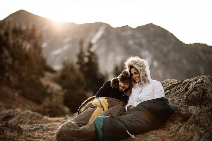 Pro Tip for Adventure Wedding Elopement in Colorado with Justyna E Butler Photography, Adventure eWeddings + Elopements for wild souls. Never leave your sleeping Bag behind where the Adventure Awaits in Colorado No matter what the month...They are perfect for snuggles with your love one. Colorado Elopement Photographers