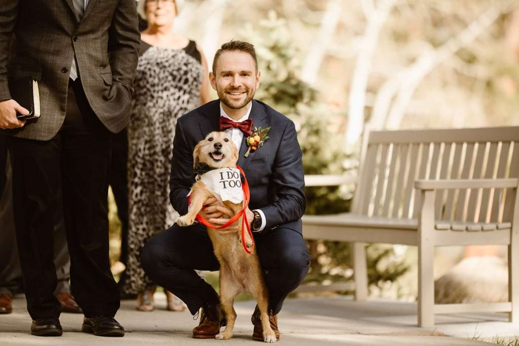 """At the end of the day it's all about who you wanna own a dog with.""⠀Photo by Justyna E Butler Photography DELLA TERRA MOUNTAIN CHATEAU COLORADO WEDDING 