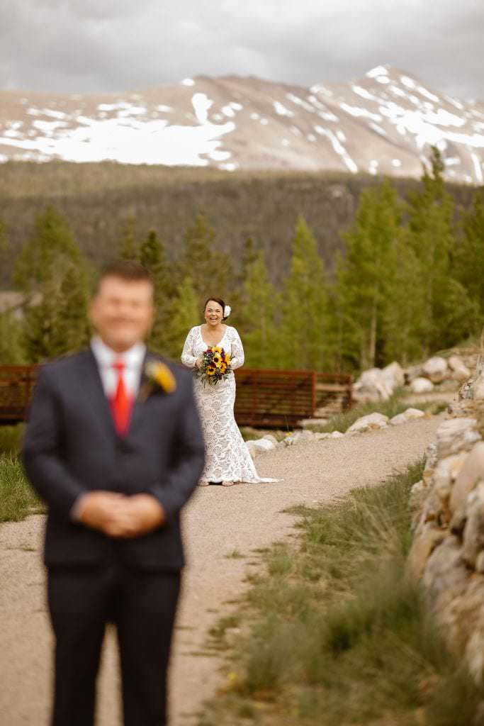 First look, Breckenridge Wedding