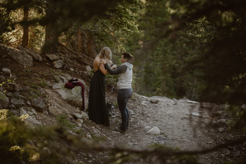 Sunrise lesbian adventure for an eengagement by Justyna E Butler Photography