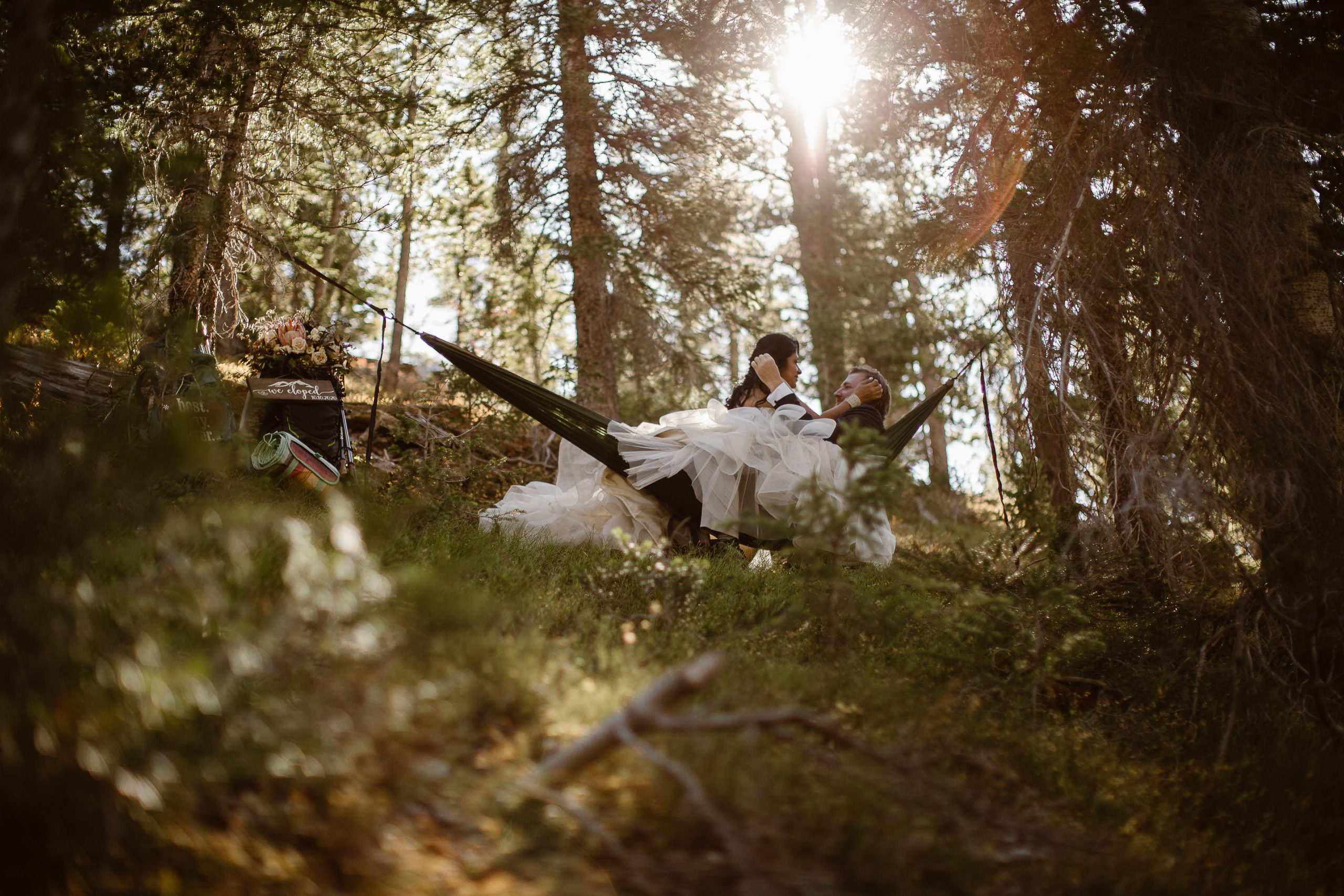 Ethereal Sunrise Rocky Mountains Adventure Elopement in Estes Park Sunrise Hammock Cuddles The Best Way To Say I LOVE YOU Before I Do