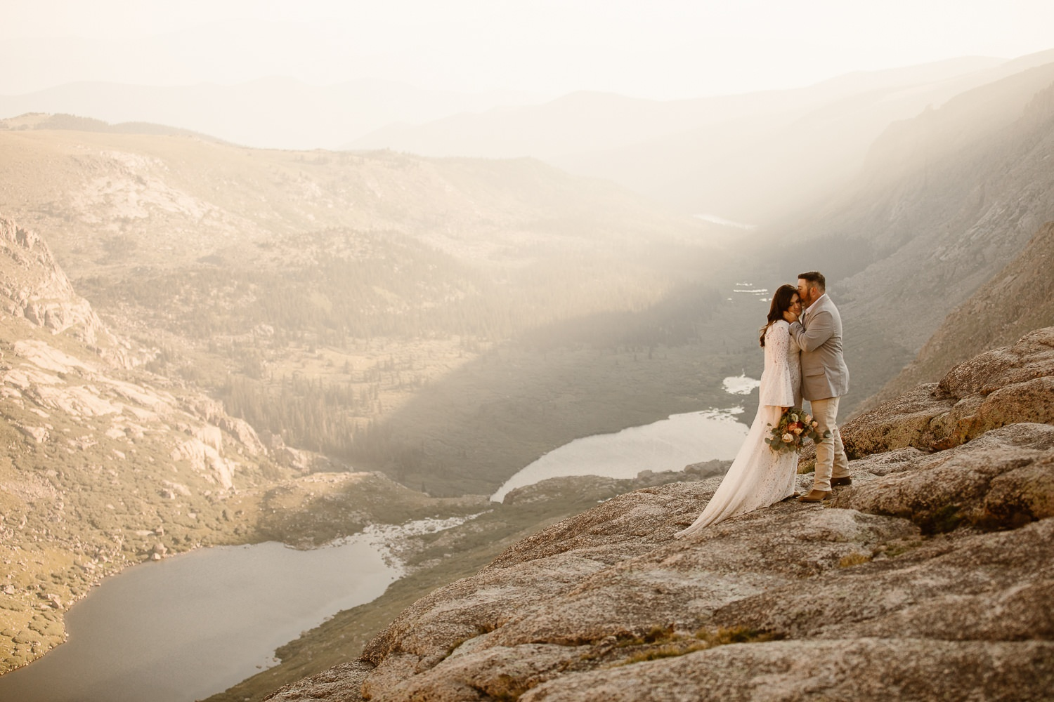 Summit Lake Adventurous in Hiking Boots For ThisEvergreen Forest WeddingWith Ethereal Florals